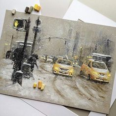 Painting in soft pastels, yellow taxies in a snowy street - drawings - Chalk Art Oil Pastel Drawings, Art Drawings, Soft Pastel Art, Soft Pastels, Pinturas Color Pastel, Pastel Pencils, Guache, Chalk Pastels, Chalk Art