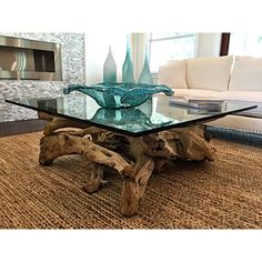 Driftwood and Glass Coffee Table- Each table is One-of-a-kind