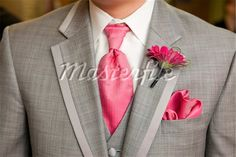 Adding Pink to Groom's Grey Tuxedo - Tie, Pocket Hankie, and Flower Boutonniere