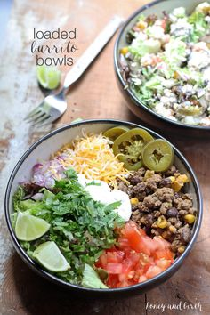 This recipe for loaded burrito bowls will hit the spot if you have picky eaters or need to eat dinner quick. Load the table with a variety of burrito fillings to make this everyone's favorite! | www.honeyandbirch.com Mexican Food Recipes, Beef Recipes, Dinner Recipes, Cooking Recipes, Healthy Recipes, Mexican Dishes, Yummy Recipes, Alkaline Recipes, Savoury Recipes