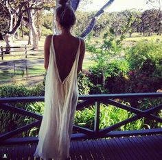 white backless maxi