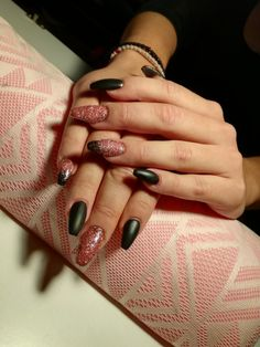 #nails#by#me#gel#matte#black#with#a#little#sparkle