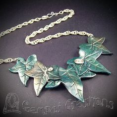 Handmade Polymer Clay Elven Green Ivy Statement by GempaiCreations
