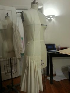 Organizing the pleats & pinning them down since the muslin is stiffer than the actual fabric.