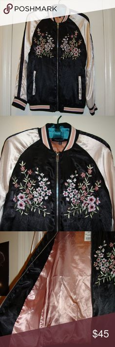 Embroidered Floral Peacock Satin Bomber Jacket This Jacket is Incredibly Beautiful ! ♡  It has a satin type feel to it, the inside is lined in a gorgeous rose color.  Size-Small  Never worn and I see no flaws.  The flowers and peacock on the back are embroidered, and really make this piece intricate and eye-catching.  The colors are stunning, so I photographed this with and without flash-   to show them in full effect/different lighting.  It's ready to be shipped and one of a kind 💕 New…
