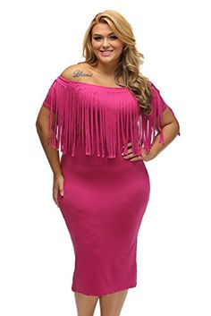 dc44a926634 Angl Lee Womens Sexy Short Sleeve Fringe Top Plus Size Party Dress  2xlus1820 rosy --