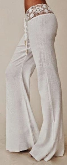 Gorgeous crochet detail white pant fashion for boho chic inspiration | Fashion And Style I could probably never pull these off haha but they look comfy!                                                                                                                                                     More