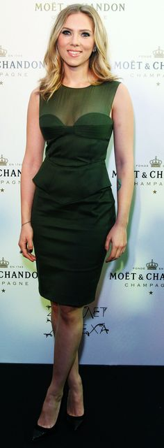 Scarlett Johansson green peplum dress