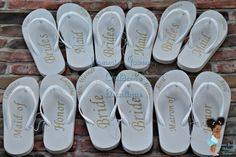 Bridal party Flip Flops by JamminJourney on Etsy