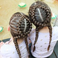 """Criss crossed dutch braids. These stayed in super well while the girls swam. I bet I could have even got away with wearing them a second day if I hadn't…"""