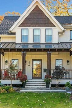 Modern Farmhouse with Optional Finished Lower Level - - like exterior colors and combo roof matl's Craftsman Cottage, Cottage House Plans, Cottage Farmhouse, Craftsman Style, Modern Farmhouse Design, Modern Farmhouse Exterior, Ranch Exterior, Farmhouse Architecture, Exterior House Colors