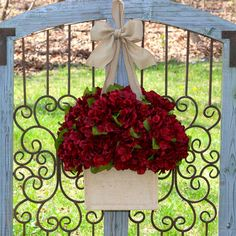 Burgundy Fall Wreath - Hydrangea Wreath - Wreath Alternative - Door Decor