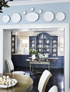 As one of the most important rooms in the home, the dining room tends to demand more than a little thought when picking out a design for it. Dining Room Design, Blue White Decor, Dining Room Decor, Decor, Blue Decor, Interior, Plates On Wall, White Decor, Home Decor