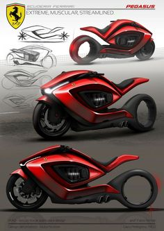 He is creative, amazing, shiny. It is unique and cosmic vision. This is futulistichniya model Ferrari motorcycles