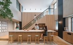 Suppose Design Office has created a multipurpose office space based on traditional Japanese interiors and neighbourhoods for Tokyo employees of home rentals website Airbnb Lounges, Airbnb Office, Bureau Open Space, Design A Space, Office Pictures, Lokal, Workplace Design, Japanese Interior, Commercial Interiors