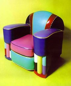 Art Deco multi colored club chair