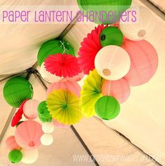 Paper Lantern Chandeliers and lots of great ideas for a beautiful surprise party! Paper Lantern Chandelier, Paper Lanterns, Craft Projects, Projects To Try, Craft Ideas, Party Hacks, Party Ideas, Party Entertainment, Diy Party Decorations