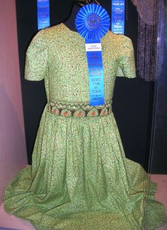 Green dress with smocking-Susie Armstrong, 2012