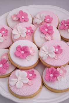 Beautiful floral cookies at a Shabby chic Bridal Shower Party!  See more party planning ideas at CatchMyParty.com!