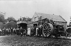 Steam tractor driving a threshing mill, © Falkirk Museums: Licensor:www. Vintage Tractors, Vintage Farm, Agricultural Revolution, Tractor Pictures, Steam Tractor, Farm Day, History Of England, Steam Engine, Vintage Photos