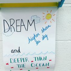 Keep the quote, great idea from ! Dream higher than the sky and deeper than the ocean ! Classroom Quotes, Teacher Quotes, Science Classroom, Classroom Activities, Classroom Ideas, Door Quotes, Wall Quotes, Me Quotes, Leadership Classes