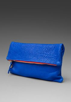 Clare Vivier Foldover Clutch in Pebbled Blue from REVOLVEclothing.com