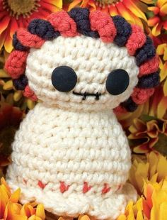 Crocheted Day of the Dead Skeleton - Not as cute as the boy skeleton with the 'stache, but still cool