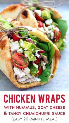 A quick & easy chicken wrap featuring simple ingredients like shredded cooked chicken, hummus, chopped veggies, an addicting homemade chimichurri sauce, and crumbled goat cheese all piled onto your favorite vessel for wraps (like naan bread, pita bread, flour tortilla, mini cauliflower pizza crust, etc.). Prep these wraps in 20-ish minutes for a fast, flavorful & healthy meal any night of the week. #chickenrecipes #quickandeasy #mealprep #easydinner #realfood