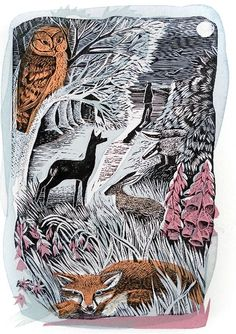Night walk by Angela Harding, printmaking, drawing, art, illustration, nature, fox, owl, deer, hare, colour, design