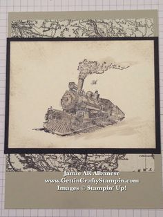 Gettin' Crafty Stampin' with Jamie: Vintage train hand-stamped card