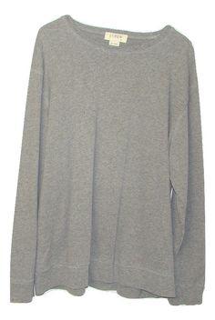 J Crew Mens Grey 100% Cotton Long Sleeve Thin Crew Neck Sweatshirt XL #JCrew #ThinSweatshirtCrew