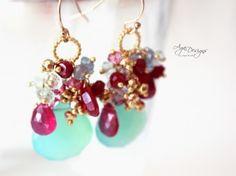 Mint and rubies earrings2