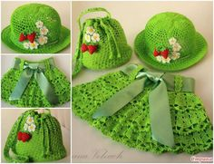 Crochet Patterns Girl DIY Pretty Crochet Girls Sun Hat and Skirt Set Free Pattern Crochet Diy, Beau Crochet, Crochet Mignon, Crochet For Kids, Crochet Crafts, Crochet Projects, Crochet Summer, Crochet Tutorials, Diy Crafts