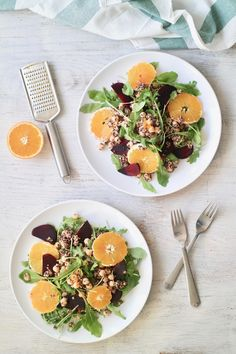 BEETROOT QUINOA ARUGULA SALAD WITH ORANGE GINGER DRESSING | perfect for any season {plant-based, vegan, gluten free}