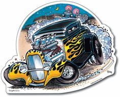 Hot Rod Drawings and Artwork   METAL SCHILD BUSTED TAK