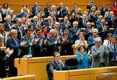 The very same day independence was declared in Catalonia in Madrid was voted the intervention of the Catalan Government, President Mariano Rajoy was acclaimed during the voting sesion.