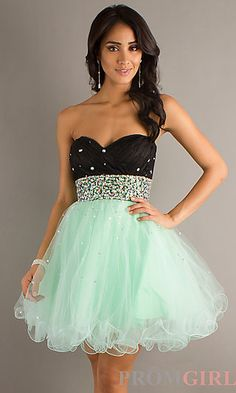 Short Strapless Two Tone Babydoll Dress by Mori Lee at PromGirl.com