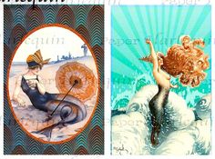 Cute blown up for the beach house.  Mermaid ART DECO Vintage Printable Tags by PaperHarlequin