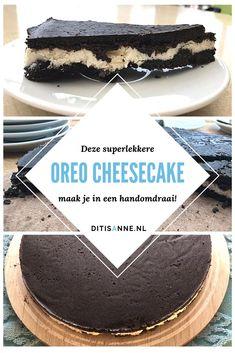 Deze heerlijke Oreo cheesecake is heel eenvoudig en snel te maken, heeft maar vier ingrediënten en is echt heel lekker! De boven- en onderkant zijn van oreokoekjes gemaakt, de vulling van monchou, griekse yoghurt en witte chocolade. Jummie! #oreocheesecake #cheesecake #recept #nederlands Baileys Cheesecake, Cheesecake Cupcakes, Cheesecake Bites, Fudge Cake, Brownie Cake, Oreo Dessert, Pumpkin Dessert, Delicious Fudge Recipe, Canned Blueberries