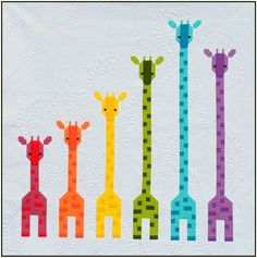 Sew Fresh Quilts: Giraffes in a {Rainbow} Row quilt pattern Quilt Block Patterns, Pattern Blocks, Quilt Blocks, Cute Quilts, Baby Quilts, Granny Square Quilt, Patchwork Baby, Free Motion Quilting, Quilt Tutorials