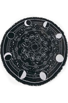 Pagan Round Blanket Soft Touch Fabric Round Blanket, with Fringes Huge Graphic Print Size x The 'Pagan' round blanket is in a lush soft fabric - with a huge contrast graphic of the pagan calendar, accent starts and moon phases. Pagan Calendar, Goth Home, Farmhouse Side Table, Gothic House, Gothic Room, Book Of Shadows, My New Room, Witchcraft, Astrology