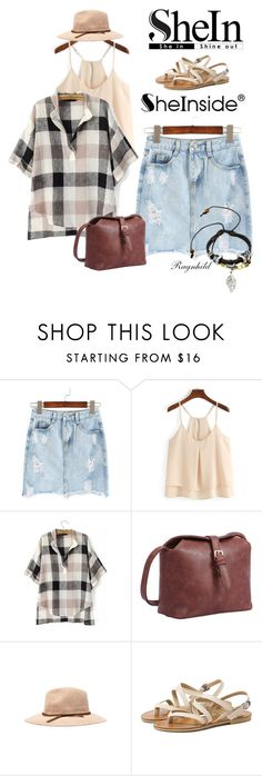 """""""Ripped Pockets Denim Skirt"""" by ragnh-mjos ❤ liked on Polyvore featuring contest, outfit and shein"""
