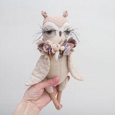 Owl love • • • • • #lenabekh #owl #softtoy #textiledoll #textileart #softsculpture #softie #handmade #heirloomdoll #clothdoll #dollmaker #dollartist #textiledesign #oiseau #dollsofinstagram #babyroom #babyshowerdecor #fabricflower #flowercrown #ethicallymade #slowdesign #bohostyle #doudou #vintagestyle #handmadegifts #birdtoys #owlsofinstagram #owllovers #owlstagram