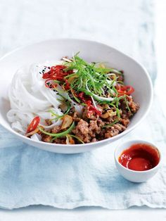 Chilli and Ginger Pork Noodles - Spicy, fresh and super-fast, these chilli and ginger pork noodles from our new autumn issue are an easy answer for weeknight dinners.