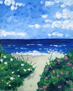 Beach Blooms - Lindsey Sniffin - Paint Nite  Filbert and round, wet on wet.