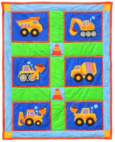 "Big Rigs quilt pattern measures 39"" x 49"". Can be expanded to 63"" x 77"" by adding additional borders. Instructions for both sizes are included. Have a little guy who just LOVES the vehicles at construction sites? This is for him!"