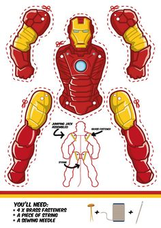 Iron Man Jumping jack template. Another cool superhero puppet.