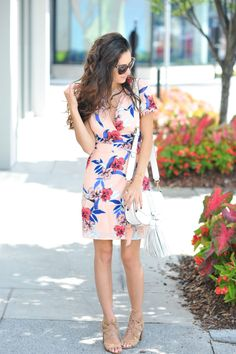 Sam Edelman Yardley Lace Up Sandals, Yumi Kim Grapevine Dress in maui escape, Rebecca Minkoff Isobel Saddle Bag, sunday brunch, pink floral wrap dress, kendra scott kasey necklace, kendra scott etta necklace