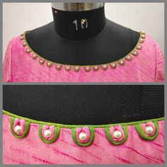 Amazing necklines for dresses in simple way, you can do this with two Doris one Moti Chudithar Neck Designs, Blouse Designs High Neck, Salwar Neck Designs, Simple Blouse Designs, Neck Designs For Suits, Kurta Neck Design, Neckline Designs, Bridal Blouse Designs, Sleeve Designs