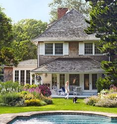 shingle style + white shutters via Satisfying Spaces
